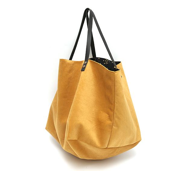 acheter populaire 8bc8a c7ae1 Sac cabas velours moutarde intérieur noir à pois dorés