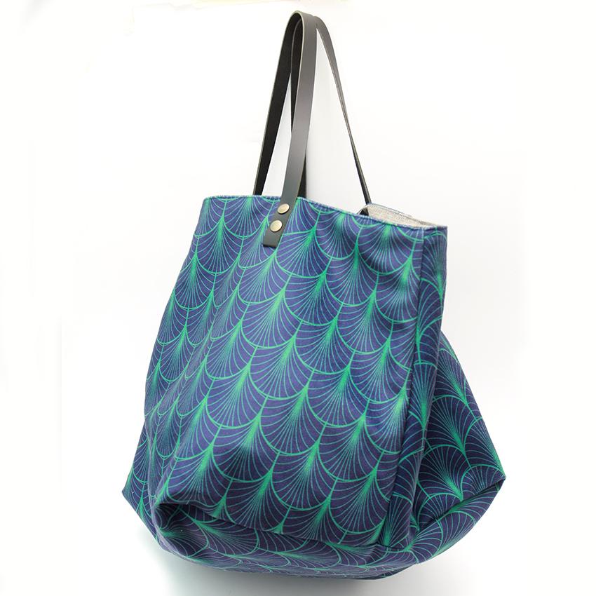 magasin en ligne 15cbf 214bf Sac cabas en velours graphique bleu et vert