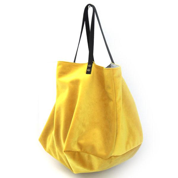 plus récent afe0b 36f1e Sac cabas velours jaune intérieur gris japonais